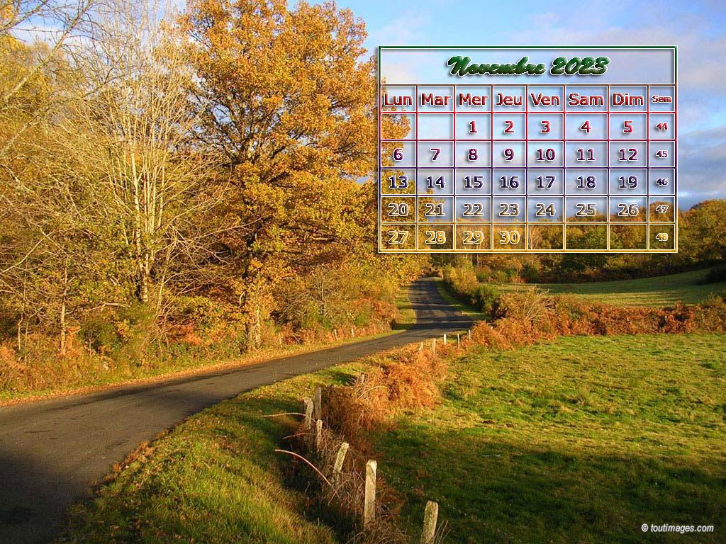 Calendrier du mois en fond d 39 cran sur votre site for Fond ecran novembre